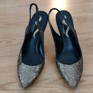 Nina Gold Sequin Slingbacks Size 10M